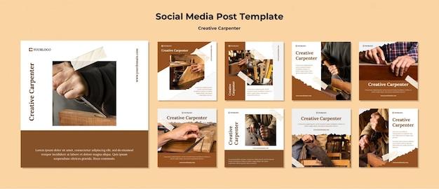 Modelo de postagem de mídia social de carpinteiro criativo