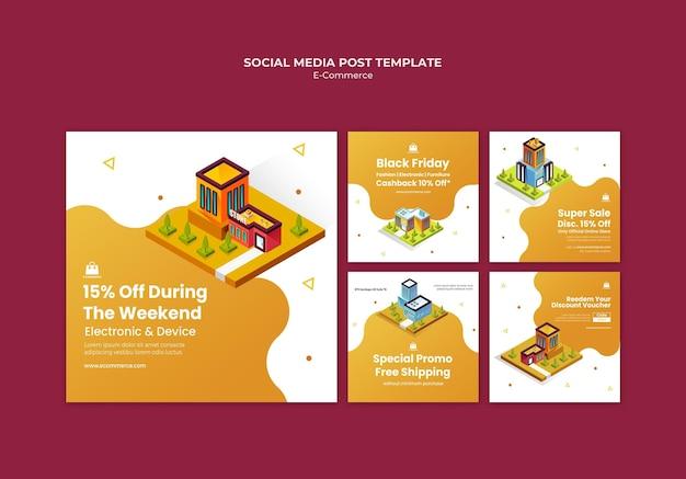 Modelo de postagem de mídia social de comércio eletrônico