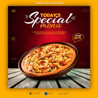 Modelo de postagem de mídia social de comida deliciosa psd premium
