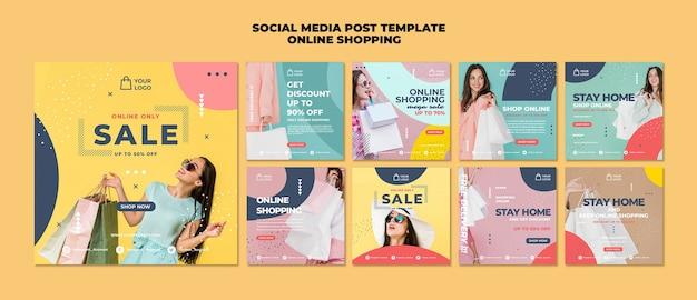 Modelo de postagem de mídia social de compras online