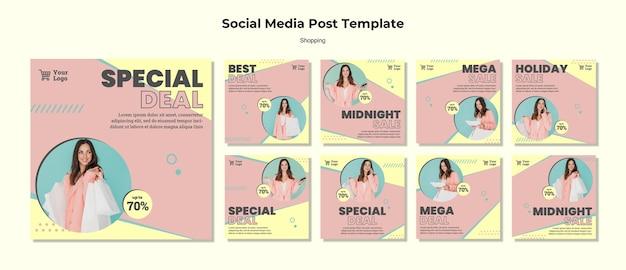 Modelo de postagem de mídia social de compras