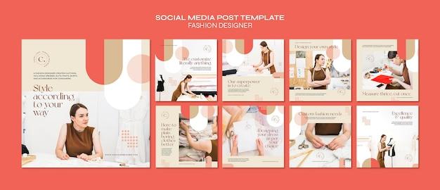 Modelo de postagem de mídia social de conceito de designer de moda