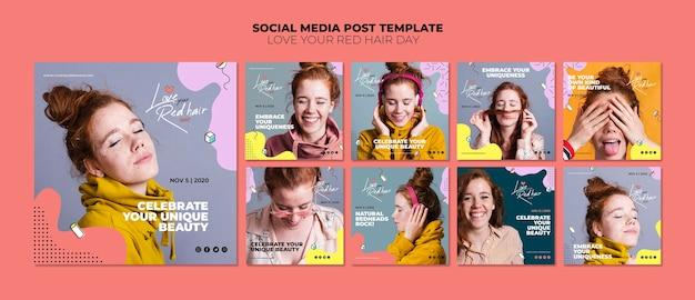 Modelo de postagem de mídia social de conceito de dia de cabelo vermelho