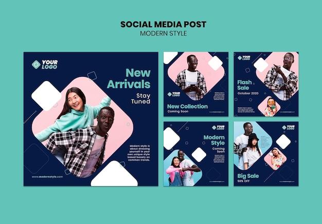 Modelo de postagem de mídia social de conceito de estilo moderno