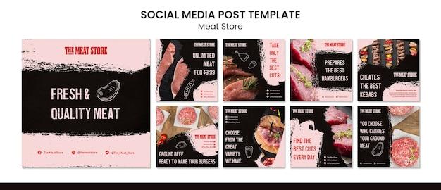 Modelo de postagem de mídia social de conceito de loja de carne