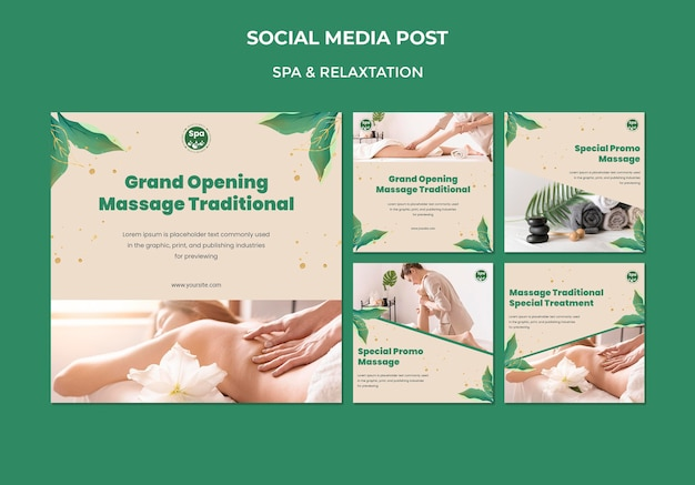 Modelo de postagem de mídia social de conceito de spa