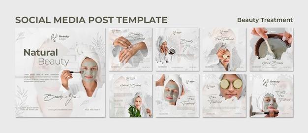 Modelo de postagem de mídia social de conceito de tratamento de beleza