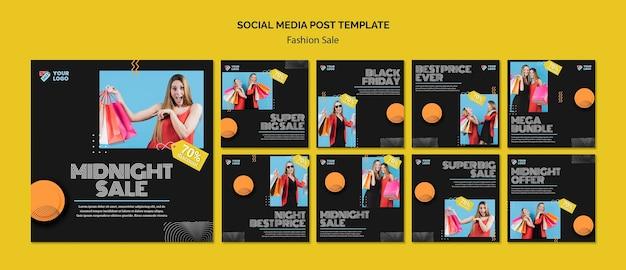 Modelo de postagem de mídia social de conceito de venda de moda