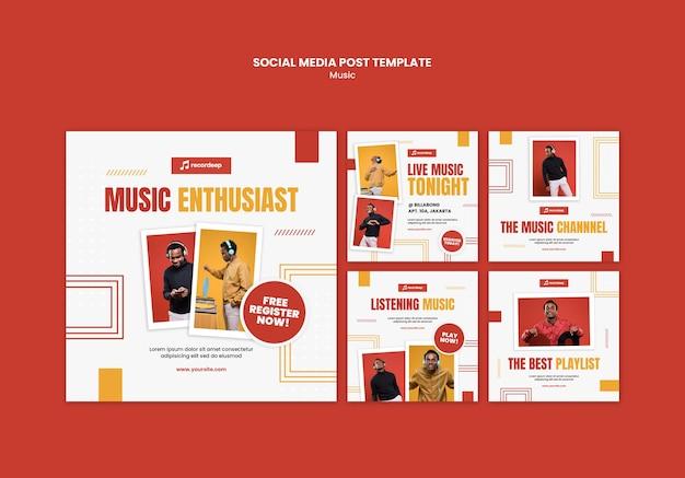 Modelo de postagem de mídia social de conceito musical