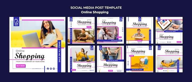 Modelo de postagem de mídia social de conceito on-line de compras