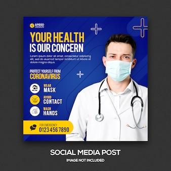 Modelo de postagem de mídia social de coronavírus de saúde