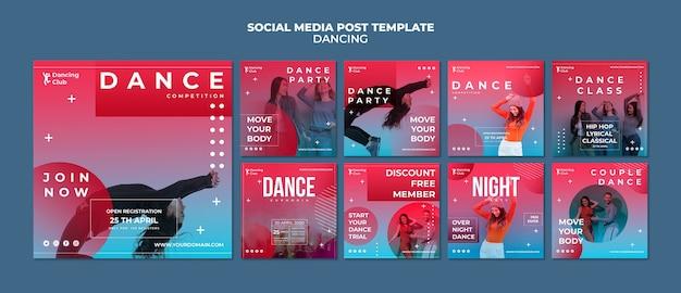 Modelo de postagem de mídia social de dança colorida