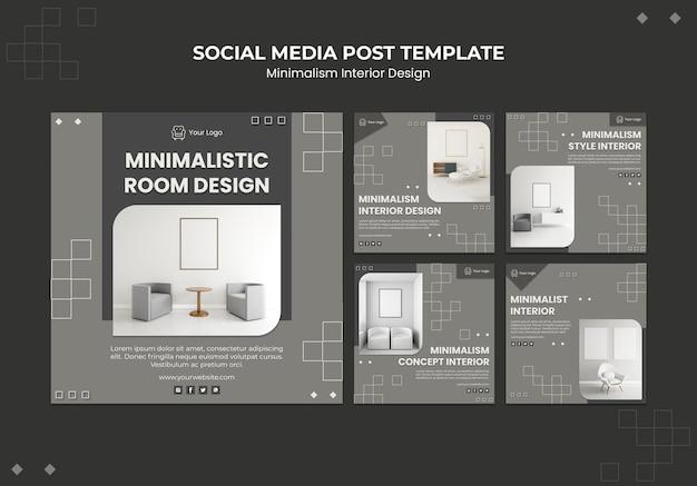 Modelo de postagem de mídia social de design de interiores minimalista
