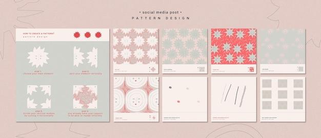 Modelo de postagem de mídia social de design de padrão