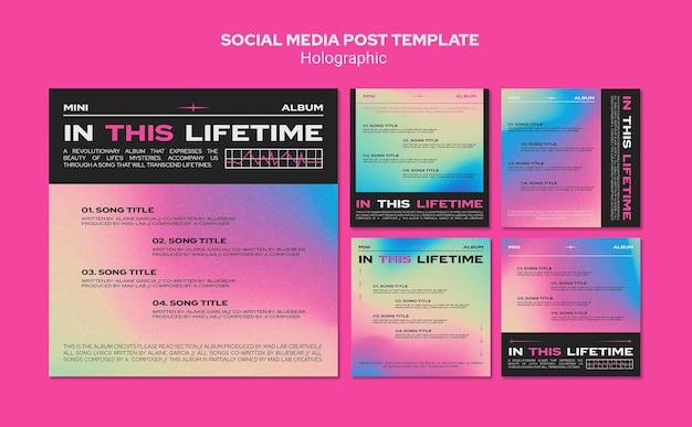 Modelo de postagem de mídia social de design holográfico