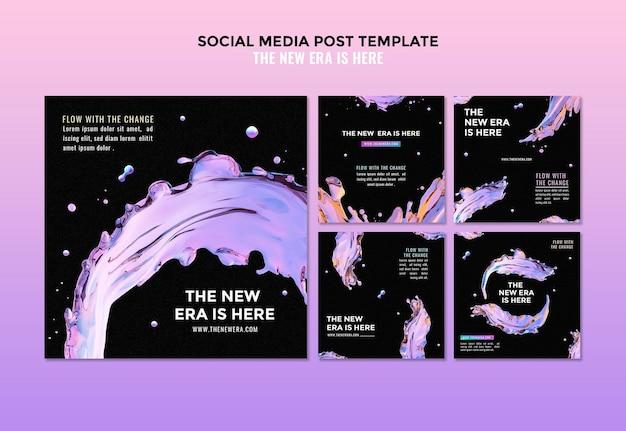Modelo de postagem de mídia social de design líquido