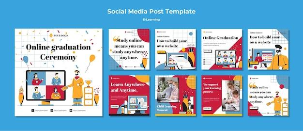 Modelo de postagem de mídia social de e-learning
