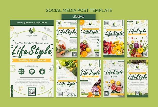 Modelo de postagem de mídia social de estilo de vida de alimentação saudável