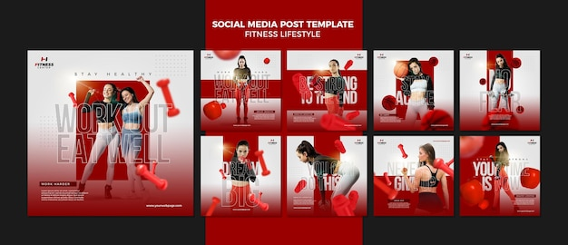 Modelo de postagem de mídia social de estilo de vida de fitness