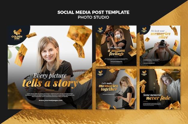 Modelo de postagem de mídia social de estúdio fotográfico