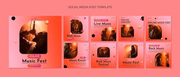 Modelo de postagem de mídia social de evento musical