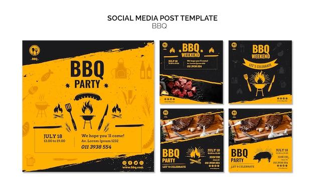 Modelo de postagem de mídia social de festa de churrasco
