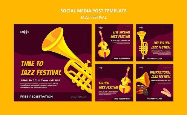 Modelo de postagem de mídia social de festival de jazz