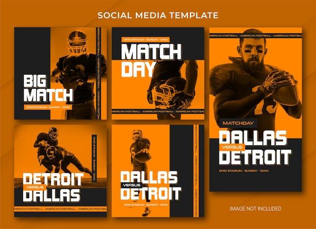 Modelo de postagem de mídia social de futebol americano