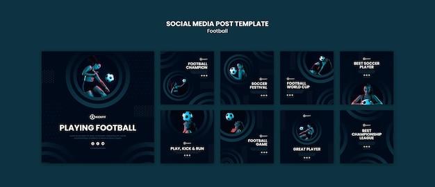 Modelo de postagem de mídia social de futebol