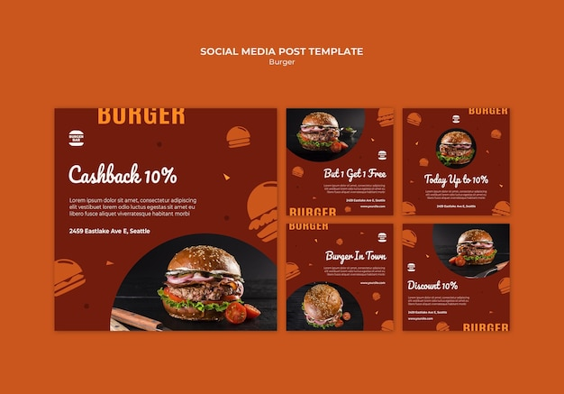 Modelo de postagem de mídia social de hambúrguer