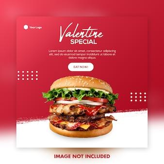 Modelo de postagem de mídia social de menu de comida dos namorados