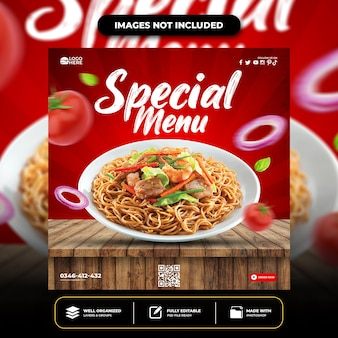 Modelo de postagem de mídia social de menu delicioso especial