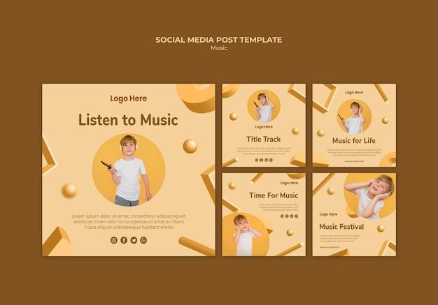 Modelo de postagem de mídia social de música