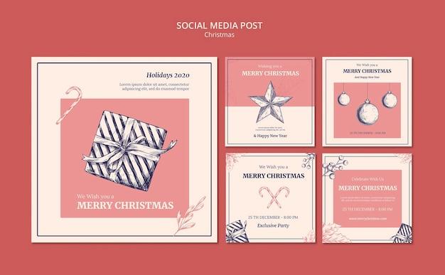 Modelo de postagem de mídia social de natal desenhado à mão
