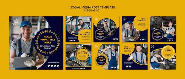 Modelo de postagem de mídia social de negócios mecânico