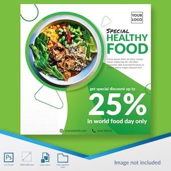 Modelo de postagem de mídia social de oferta de desconto de restaurante de comida saudável