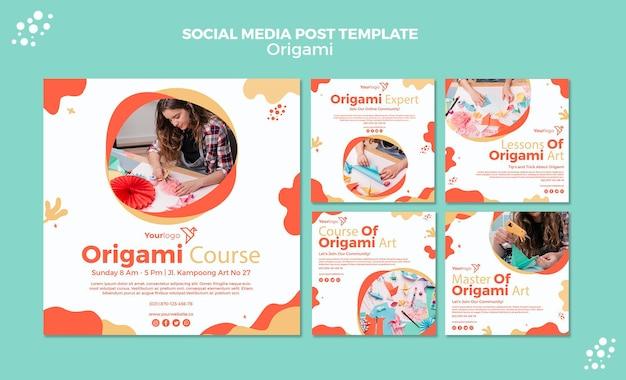 Modelo de postagem de mídia social de origami