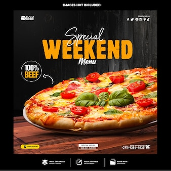 Modelo de postagem de mídia social de pizza deliciosa especial