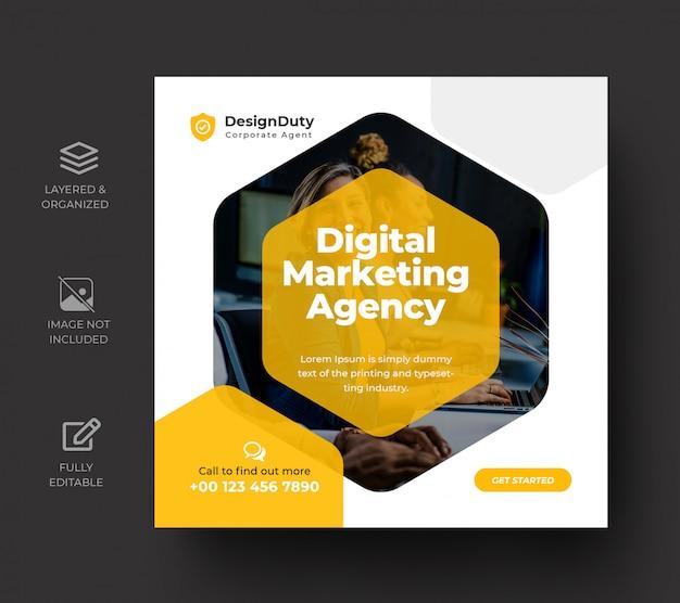 Modelo de postagem de mídia social de promoção de marketing de negócios digitais