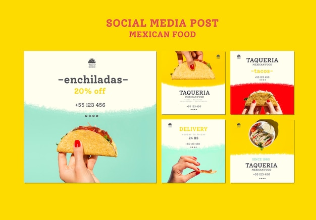 Modelo de postagem de mídia social de restaurante mexicano