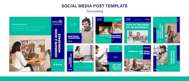 Modelo de postagem de mídia social de teletrabalho