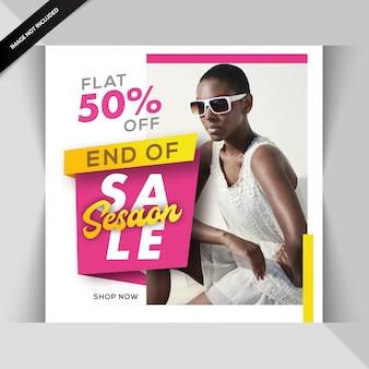Modelo de postagem de mídia social de venda com desconto de moda