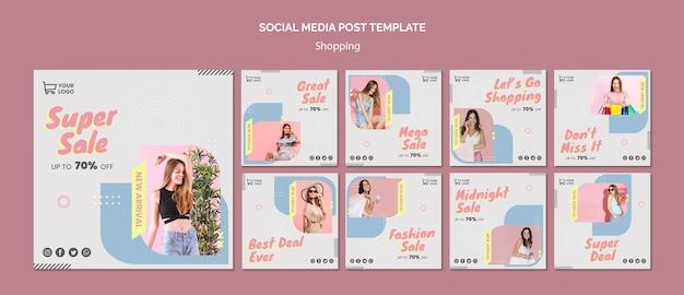 Modelo de postagem de mídia social de venda de compras