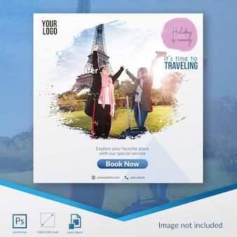 Modelo de postagem de mídia social de venda especial de viagem