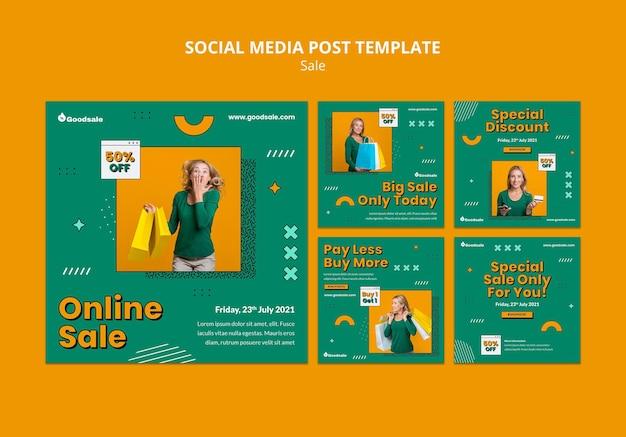 Modelo de postagem de mídia social de venda online