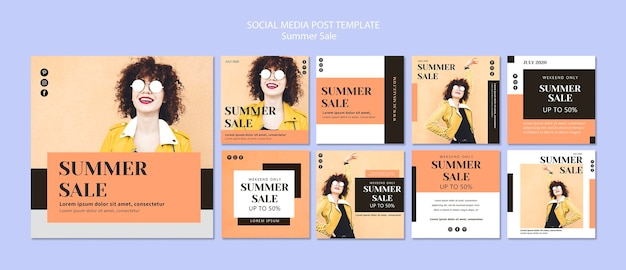 Modelo de postagem de mídia social de venda verão