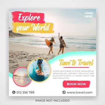 Modelo de postagem de mídia social de viagem de viagem
