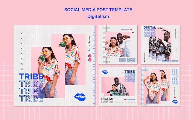 Modelo de postagem de mídia social digital