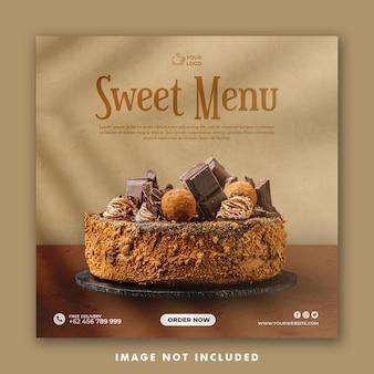 Modelo de postagem de mídia social do bolo para restaurante de promoção