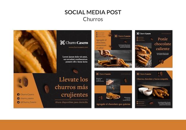 Modelo de postagem de mídia social do conceito churros